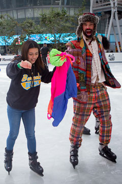 Holiday On Ice 2017 skater with Silly Sally's Entertainment skater