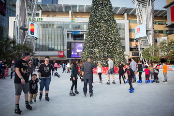 skaters and Christmas tree at LA Live