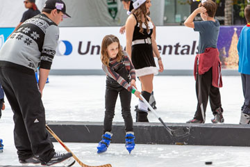 Holiday On Ice 2018 LA Kings Ice Crew and young skater