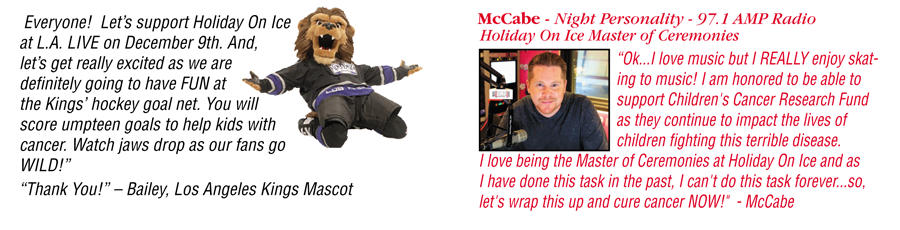 DJ McCabe and Mascot Bailey at holiday on ice december 9th 2018